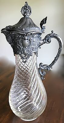 Antique Victorian Claret Carafe Ornate Figural Lid Lions And Scrolls Pewter Top