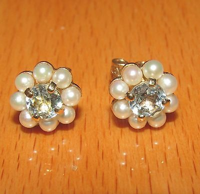 BEAUTIFUL SECONDHAND 9ct GOLD BLUE TOPAZ& PEARLS STUD EARRINGS FOR PIERCED EARS