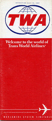 TWA Trans World Airlines July 16, 1967 System Timetable