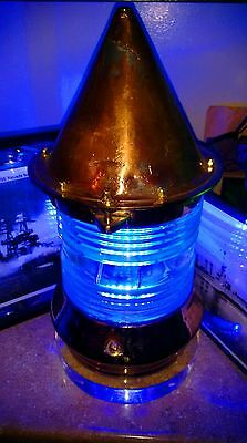 Restored Rare Large Art Deco Ocean Blue U.S. Navy Coast Guard Buoy Light U.S.N.