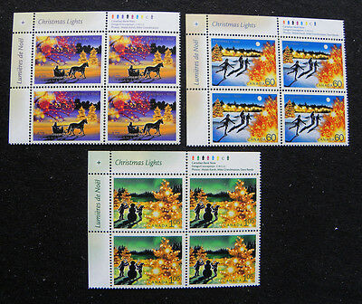 Canada Stamps 1922 - 4 Christmas Lights 2001 - 3 Plate Blocks of 4 MNH