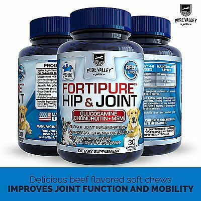 Hip and Joint Support For Dogs - Natural Glucosamine, Chondroitin, MSM + Vit C