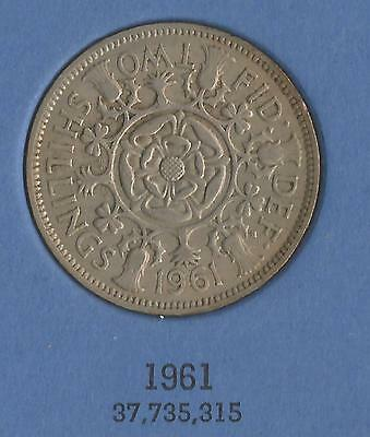 1961  ELIZABETH II BRITISH FLORIN suit birthday, anniversary, favours