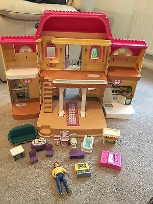 Vintage Fisher Price Loving Family Dolls House With People And Accessories