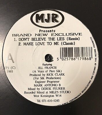 "JILL FRANCIS - Don't Believe The Lies (Remix) / Make Love To Me Vinyl 12"" UK 93"