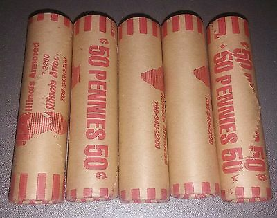 Uncirculated 1995-P Lincoln Cent 5 rolls $2.50 face value