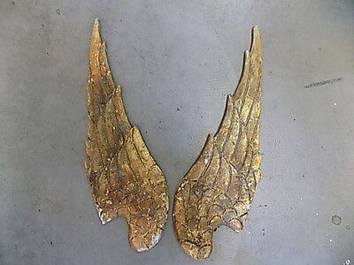 Gold Gilt Carved Wooden Antique Style Angel Saint Wings Distressed Wood Decor