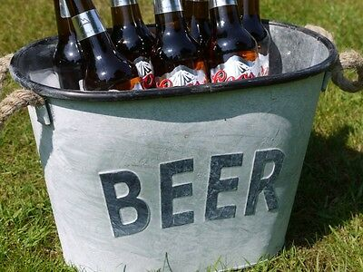 Vintage style Grey Metal Beer Bucket Ice Cooler Garden party BBQ shabby chic