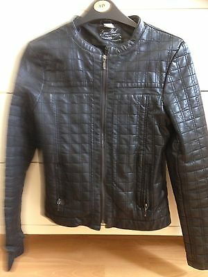 Zara Girls Black Leather Jacket, Age 11-12