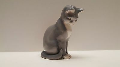 "Bing & Grondahl Porcelain Figurine 1876 Grey & White Cat 5"" Royal Copenhagen B&G"