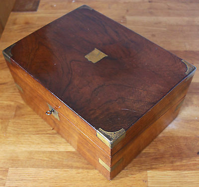 Antique Victorian Brass Bound Rosewood Writing Box / Slope