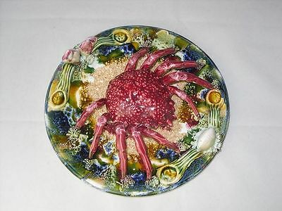 Majolica Crab Seashell Wall Plaque Plate
