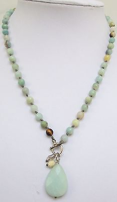 Stunning vintage hand knotted agate bead pendant necklace + bracelet