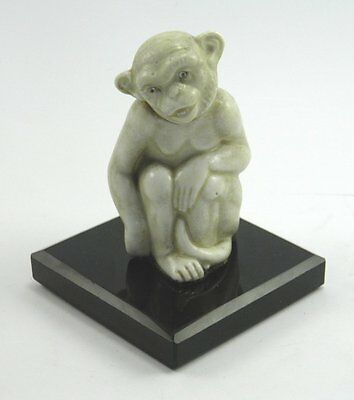Vintage Art Deco pottery ceramic monkey figurine in the manor of Bernard Moore