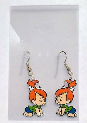 Pebbles Earrings Crawling Baby Flintstones Charms
