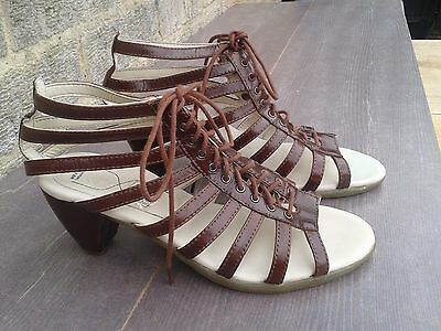 NEW Dr Martens Ladies Brown Leather Mid-Heel Strappy Gladiator Sandals UK 4