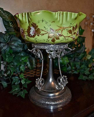 Brides Basket with Rare Chartreuse Exterior Decorated Bowl and Rogers SP Basket