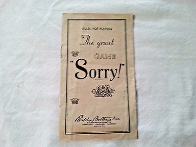 "Vintage 1939 ""sorry"" Printed Instructions For The Game"