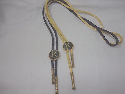 Kiwanis International Bolo Ties Yellow and Black String 34 inches long