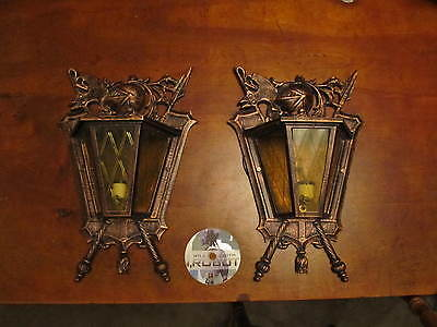 2 Medieval Wall Sconces W/knight Coatofarms Antique Sconces Collectible Sconces