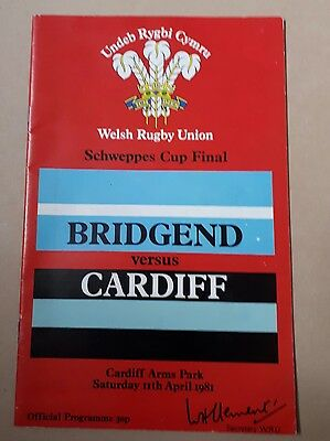 Bridgend v Cardiff Rugby Union Schweppes Cup Final 11/4/81 Good Condition