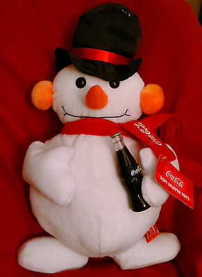 "Vintage Coca-Cola 15"" Snowman holding Bottle Soft Stuffed Toys"