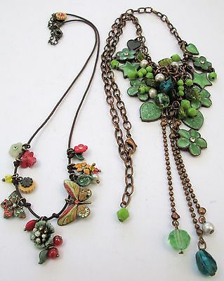 Two gorgeous vintage gold metal, enamel & paste flower design necklaces