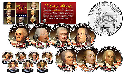 THE FOUNDING FATHERS of United States WASHINGTON DC State US Quarters 7-Coin Set