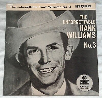 RARE HILLBILLY COUNTRY 45 Hank Williams The Unforgettable No 3 EP TOP COPY