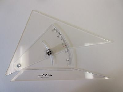 "Jakar Adjustable Set Square 12"" 300mm Degree Scale Protractor Clear Acyrlic"