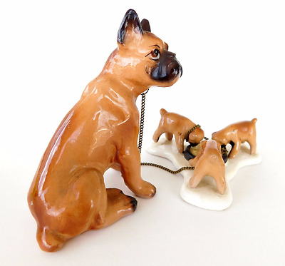 Vintage Boxer Dog Family Chain / Chained Figurines, Aged repair on Momma leg