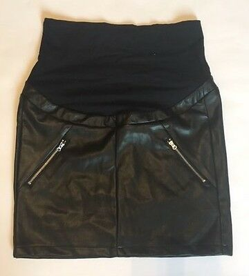 H&M mama maternity black leather skirt overbump 16