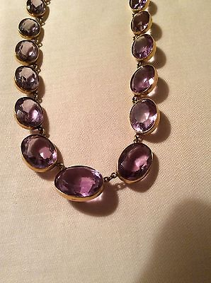 Vintage victorian 9ct Yellow Gold amethyst choker necklace
