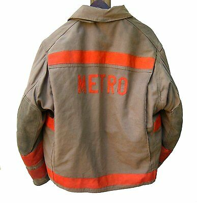 """Vintage 1992 Globe Firefighter Turn Out Jacket """"METRO"""" 48 x 29"""