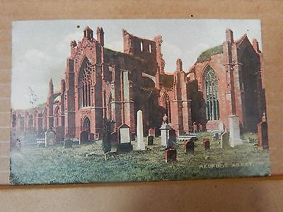 Postcard Melrose Abbey Scotland tinted card ,posted 1904  xc2