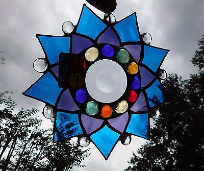 Leaded Stained Glass Sun Catcher  Flower Hanging aqua blue and purple  #26