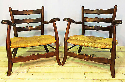 Antique French Countryside Captain's Chairs Rush Seat Set of 2 Late 18th Century
