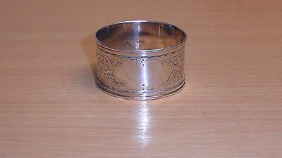 Antique sterling silver napkin ring / holder - 1900 engraved design