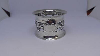 Antique sterling silver Thistle napkin ring / holder - 1901
