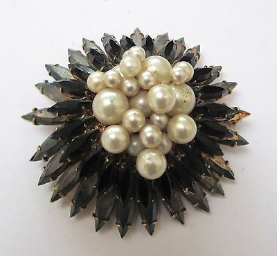 Very large vintage gold metal, pearl, French jet & iridescent glass brooch
