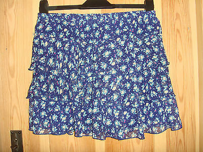 New Look Tiered Blue Floral Skirt Age 14 years