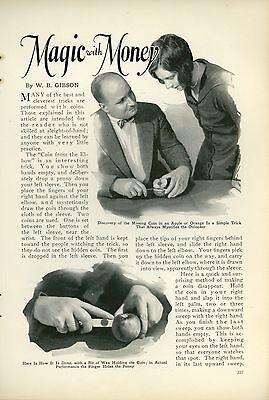 1927 Magazine Article How To Do Magic Tricks with Money Coins Magician Secrets