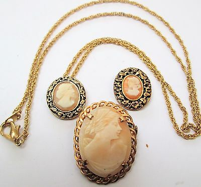 Vintage gold metal & carved shell cameo brooch + 2 pendants
