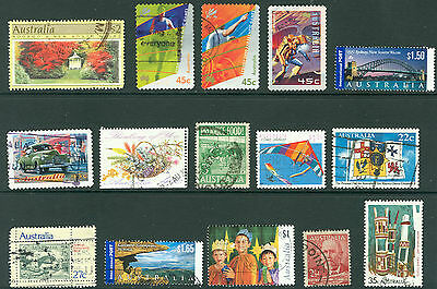 Australia - mixed lot of fifteen used stamps, including Paralympics, flowers