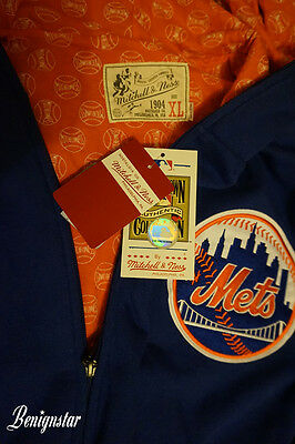 New York Mets MLB Baseball Jersey Jacket Hoodie Mitchell and Ness