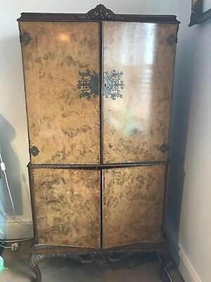 1930's Antique Burr Walnut Cocktail Drinks Cabinet. Restoration Project.