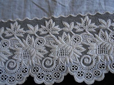 1920's French White Embroidered Trim 1 Yard