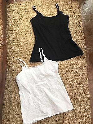 H&M 2x nursing Breastfeeding Pregnancy Vest Tops Black & White Large 12 14 16