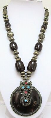 Very large vintage gold metal & faux tortoiseshell bead pendant necklace