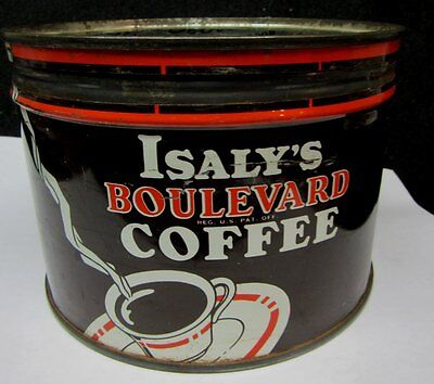 Vintage ISALY'S Boulevard 1 POUND KEY WIND COFFEE TIN w LID   Isaly Diary,OHIO